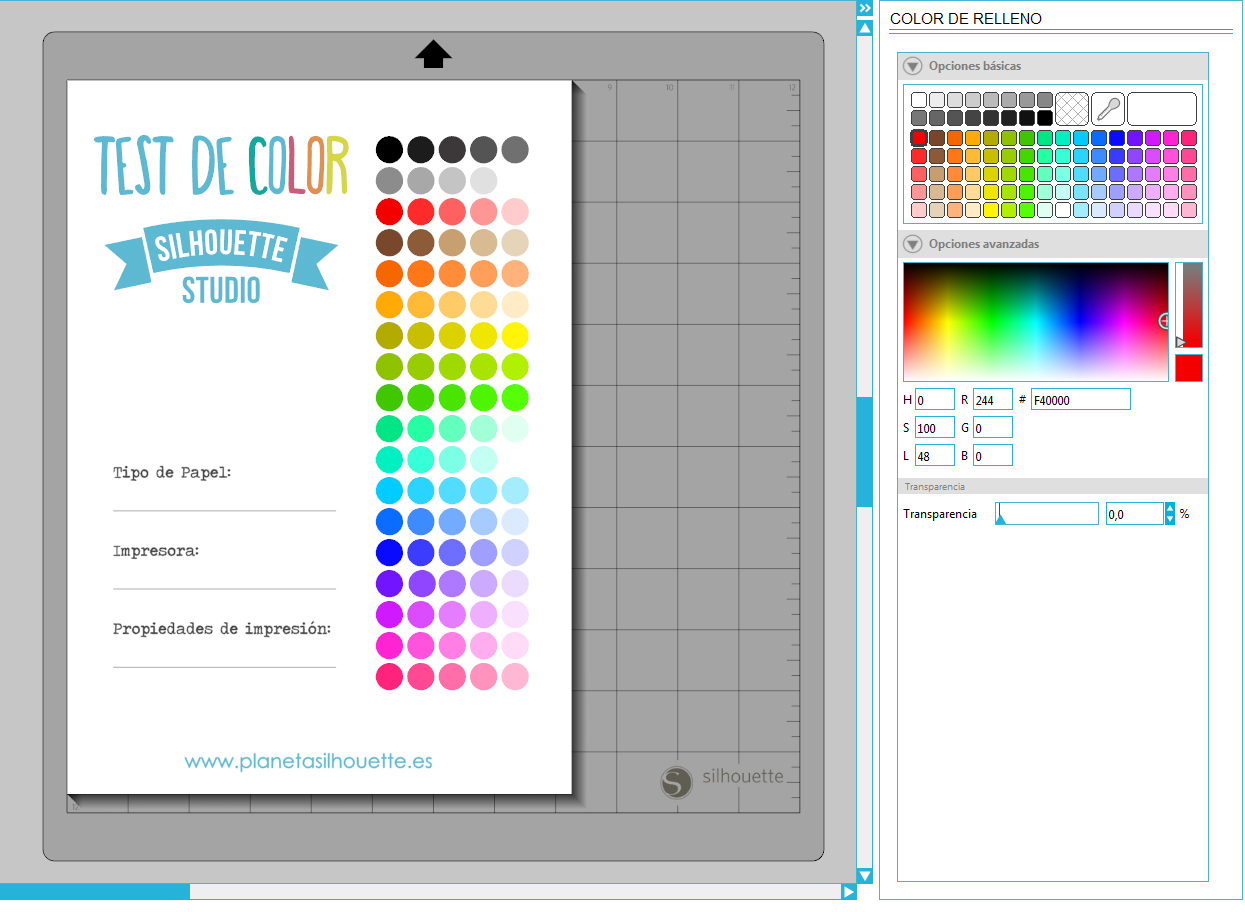 Los colores impresos desde Silhouette Studio.   Planeta Silhouette
